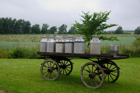 old container: old traditional milk cans on a wooden horse and cart