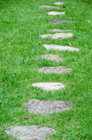 Stepping stones in a green meadow in a garden Stock Photo