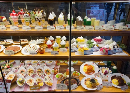 Typical food and drink display made of plastic in front of a japanese restaurant