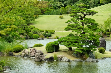japanese gardens: Japanese garden with lake and waterfall Stock Photo