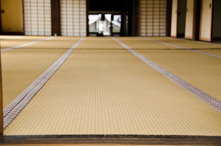 the house of worship: Tatami room at an old temple in Japan Stock Photo