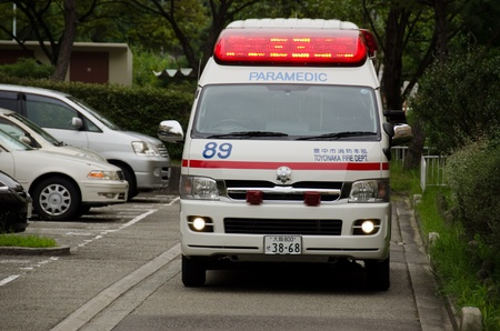 Japanese emergency vehicle on a street in Toyonaka, Japan