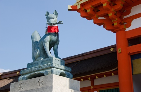 Fox statue at the Fushimi Inari taisha Shrine in Kyoto Japan Stock Photo