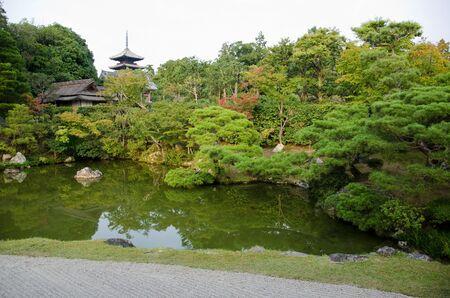 Japanese garden inside the Ninna-ji temple in Kyoto, World heritage site
