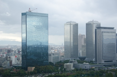 Skyline of Osaka Business park as seen from Osaka castle