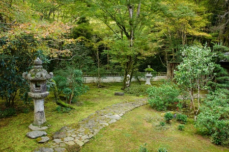 Japanese garden with lantern and stone pathway