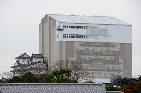 Himeji castle in japan during reconstruction work in November 2011