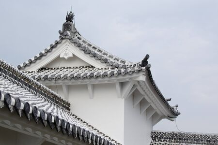 outbuilding: Detail of traditional japanese architecture on an outbuilding of Himeji castle
