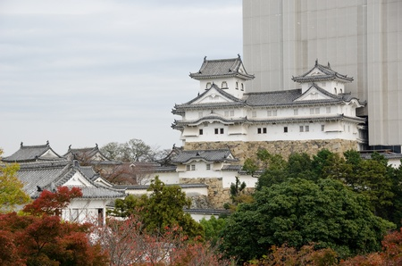 Himeji castle in japan during reconstruction work in November 2011
