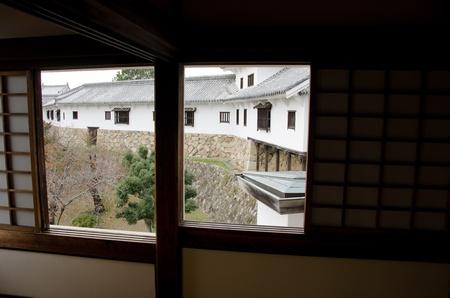 outbuilding: Outbuilding of Himeji castle seen through a window