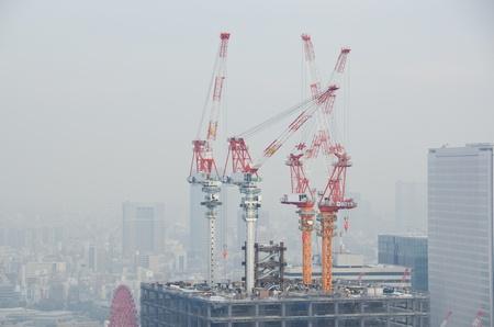 Skyline of Osaka City on a foggy day, smog
