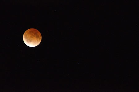 penumbra: Red moon during a lunar eclipse on a black sky