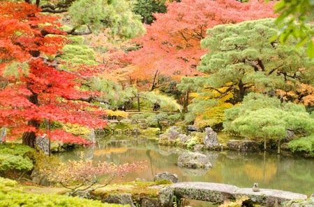 japanese fall foliage: Japanese garden at Ginkaku-ji temple in Kyoto, Japan Editorial