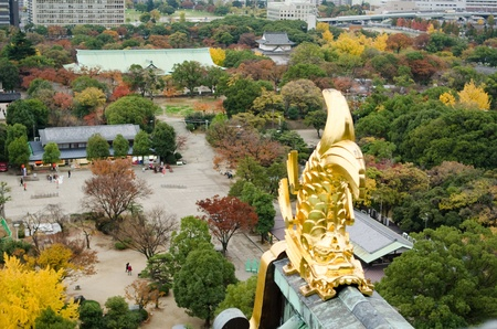Golden fish on the roof of Osaka castle in Japan to protect the building from fire