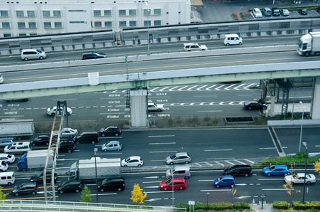Motorway in Osaka, Japan with a lot of traffic