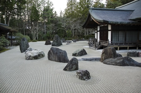 Traditional japanese stone garden in the Kongobuji temple at Koya-san, Japan. World Heritage Site