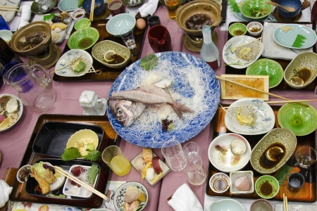 Japanese dishes in a traditional restaurant after dinner photo