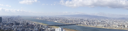 Panorama view of Osaka along the Yodo river