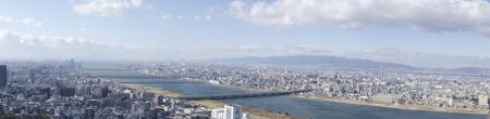 Panorama view of Osaka along the Yodo river