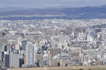 Panorama view of Osaka and Toyonaka on a sunny day