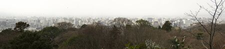 forground: Panorama view of Kyoto with trees in the forground Stock Photo