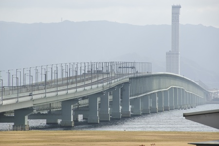 Bridge for trains and cars connecting Kansai International Airport with the mainland Stock Photo - 16462810