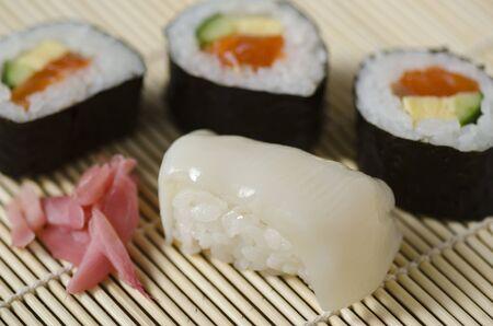 whitefish: Japanese Cuisine whitefish Sushi Set, Nigiri, Maki Sushi, sashimi and gari ginger Stock Photo