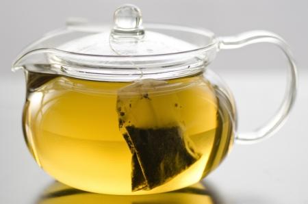 Glass tea pot with herb tea bag and herb tea
