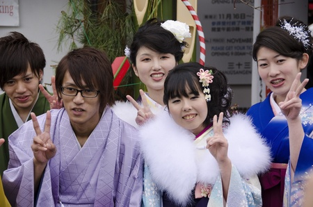 Young people celebrating the coming of age day in Japan Editorial