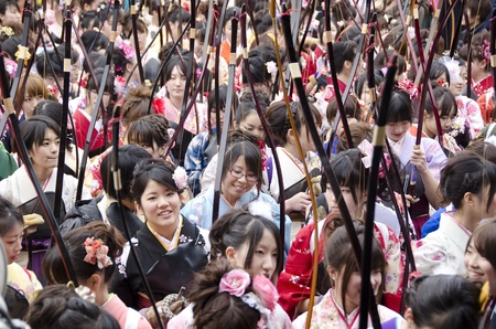 Coming of age day archery competition at Sanjusangendo Temple in Kyoto, Japan. Toshiya festival.