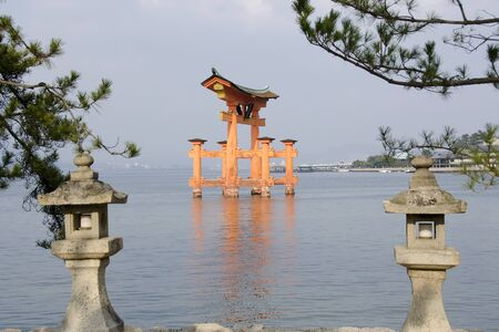 Tori gate at Itsukushima Shrine on Miyajima Island, near Hiroshima, Japan