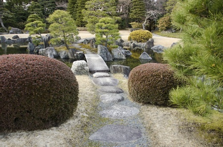 Japanese garden with lake, stepping stones and bridge photo