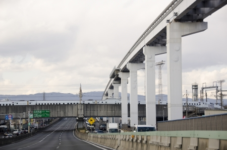 Japanese infrastructure with train, monorail track and motorway Stock Photo - 17863100