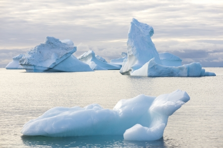 Beautiful Icebergs in Disko Bay Greenland around Ilulissat