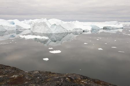 icefjord: Beautiful Icebergs in Disko Bay Greenland around Ilulissat