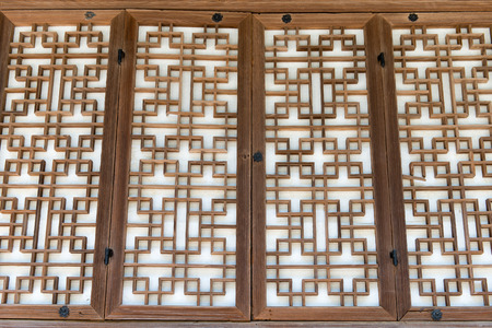 Background pattern of a traditional wooden paper door in Korea photo
