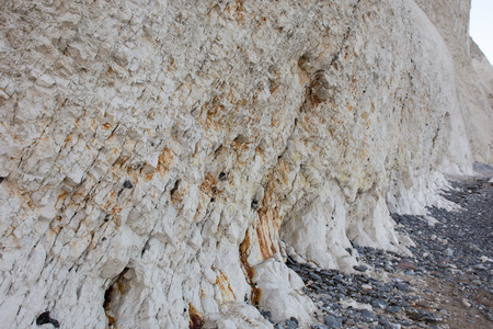 flint: Chalk cliff at mons klint with flint stones