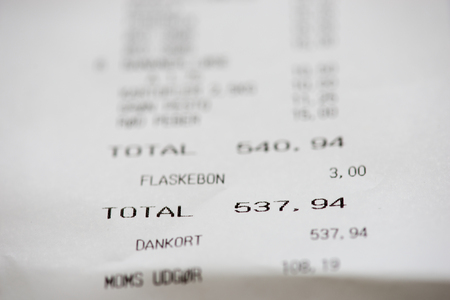 cash slips: Shopping receipt with danish words and numbers in danish krones Stock Photo