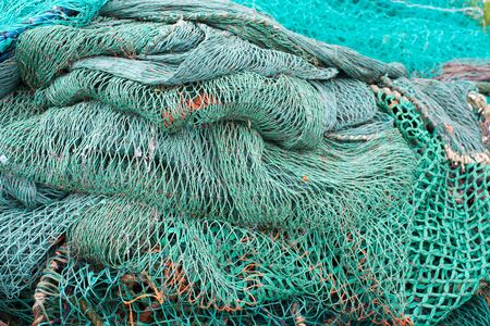 fish net: Fisher net background of ropes made of green nylon