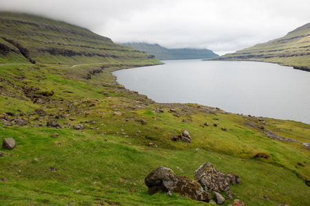 Typical landscape on the Faroe Islands, with Funningsfjordur the fjord on eysturoy
