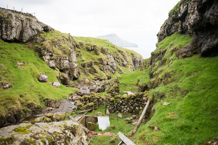 Landscape on the Faroe Islands with ocean and cliffs on Streymoy Stock Photo