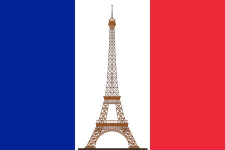 white flag: Flag of France with Eiffel Tower
