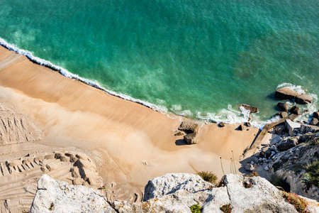 NAZARE, PORTUGAL - MAY 17, 2018.  Overhead view of the beach, as seen from the Miradouro do Nazare