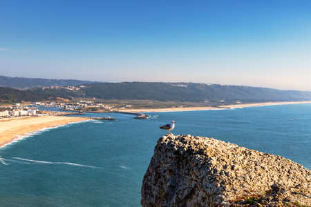 NAZARE, PORTUGAL - MAY 17, 2018.  View of the bay of Nazare in Portugl,  as seen from the Miradouro do Nazare in Sito