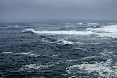 Nazare, Portugal - Stormy weather on the Atlantic Ocean Banco de Imagens