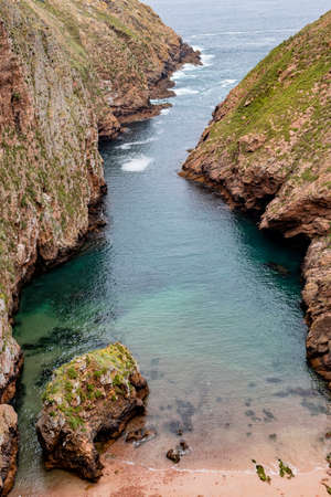Small canyon leading to the sea in the Berlengas nature reserve