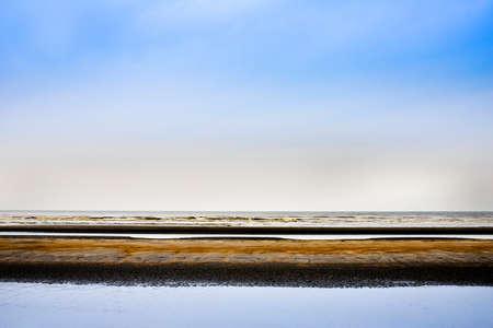 Oostduinkerke, Belgium - February 2019 -Beautiful abstract layered seascape Banco de Imagens