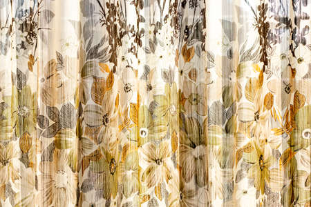Vintage curtains in front of a window Banco de Imagens