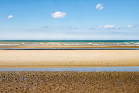 Oostduinkerke, Belgium - Minimalistic layered seascape with yellow, green and blue