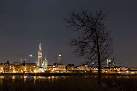 The beautiful skyline of Antwerp, Belgium with the Cathedral of our Lady on the left. Editorial